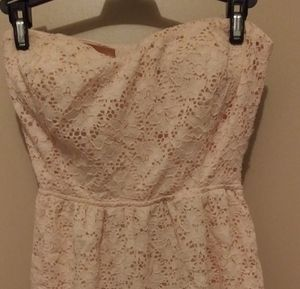 Strapless lace ivory semi formal dress